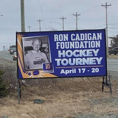 The Ron Cadigan Foundation signage outside of the stadium